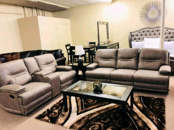 Gray Leather Sofa Set With Coffee Table