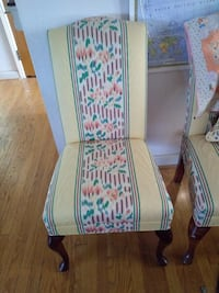 White and brown wooden armchair 689 mi