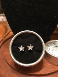 Beautiful ! Sterling Silver Crystal Diamond Star Earrings Gainesville, 20155