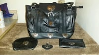 New black leather purse w/accessories