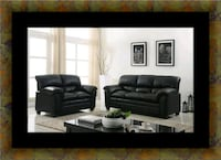 Black bonded sofa and loveseat 50 km