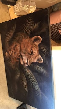 Brown wooden framed painting of tiger Alexandria, 22312