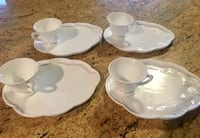 VINTAGE INDIANA MILK GLASS SNACK SET HARVEST GRAPE DESIGN Wood-Ridge, 07075