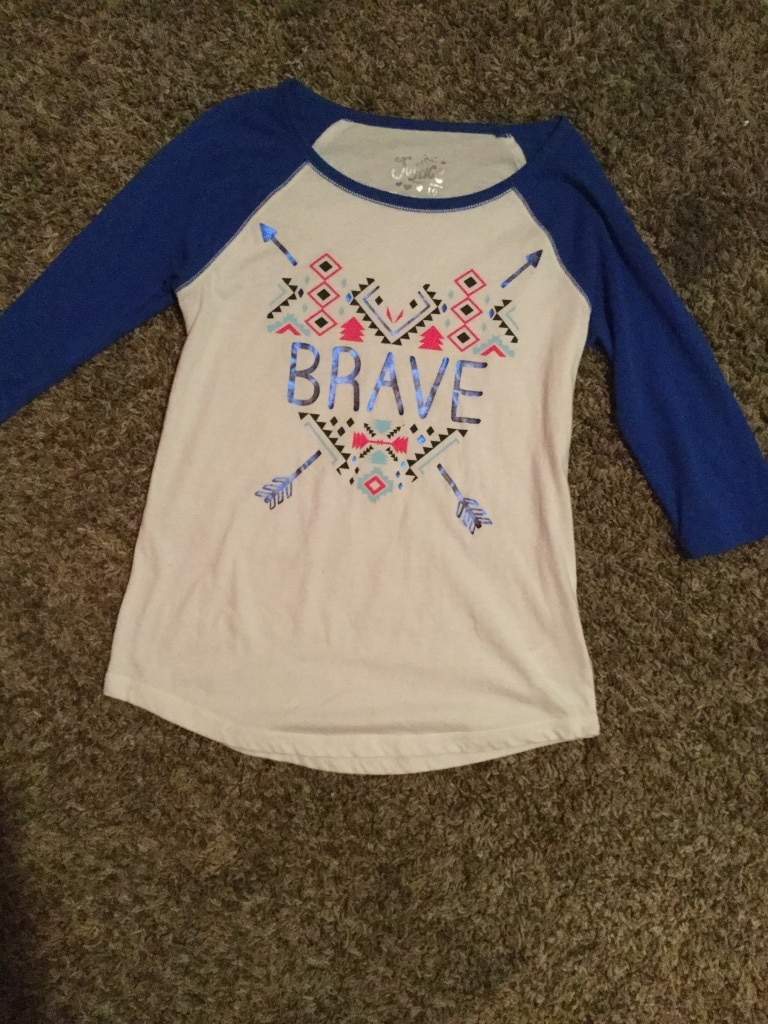 Brave white and blue sleeve top