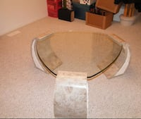 3-side clear glass top coffee table with gray cera