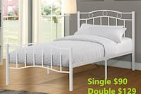 Brand new white metal platform bed frame in single and double  多伦多, M1S 4G4