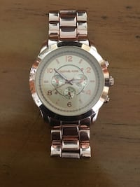 round silver-colored chronograph watch with link bracelet Ancaster, L9K