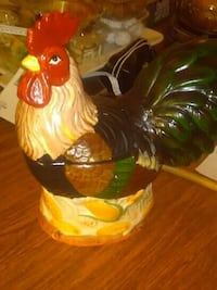 beige-red-black-and-green rooster ceramic canister San Antonio, 78212