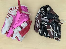 Baseball gloves for girl and boy