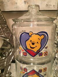 Vintage Disney Winnie the Pooh Glass Cookie Jar Canister $50 firm 10/10 condition. Toronto