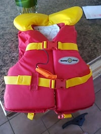 red and green life vest Calgary, T1Y 1V6