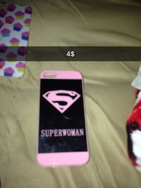 pink and black Superwoman iPhone case