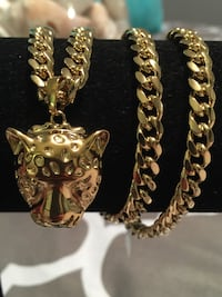"18k GPL Lion Pendant With Cuban Chain Necklace 18"" 6mm Nashville"