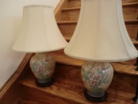 two white-and-blue floral ceramic table lamps Milton