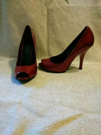 pair of red leather peep-toe platform stilettos Los Gatos, 95033