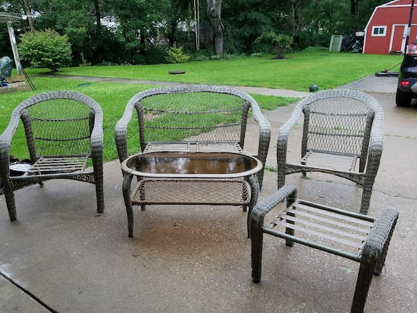 Used 6 Piece Resin Wicker Patio Furniture Set Hanover For Sale In
