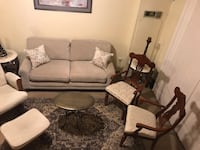 """7 pieces living room set large sofa 70x35"""" ,2 pillows, 1 brass table 20""""h24"""" oval , 2 chairs, rug 5x7"""" in excellent condition smoke pet free message me if you interested pick up in Gaithersburg Maryland 20877 all sales final 26 km"""