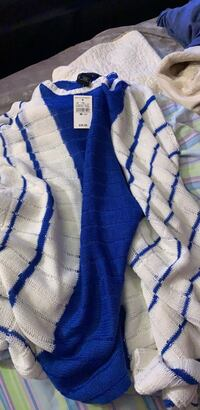 Ashley Stewart blue and white poncho- Brand new with tags