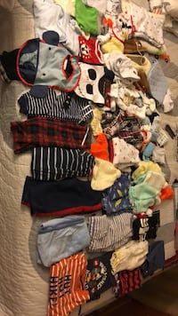 Baby clothes and accessories including: onesies, shirts, pants, bibs, shoes, socks, swaddles, hand knit clothing, pijamas, booties. Clothes range from new and excellent to good status. From a smoke and pet free home. Alexandria, 22303
