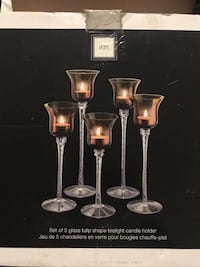 Set of glass 5 Tulip tealight candle holders