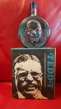 Teddy Roosevelt commemorative decanter with box Oklahoma City, 73116