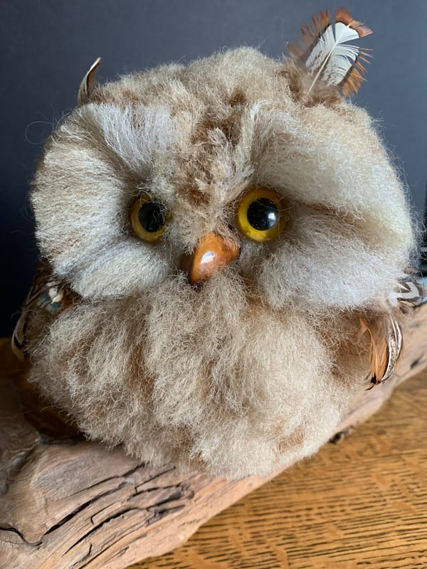 Vintage Faux Owl Perched on Driftwood Mid-Century Kitschy Home Decor 22f848db-ee38-4bdd-84e0-71109119427a