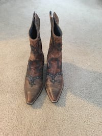 brown leather floral cowboy boots 27 mi