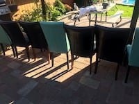 rectangular black wooden table with six chairs dining set Mississauga, L5E 1W5