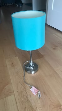 stainless steel base blue shade table lamp New York, 11215