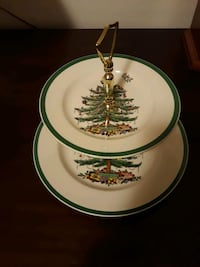 Spode double tiered Christmas tree dish Norfolk, 23509
