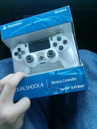 white and black Sony PS4 controller