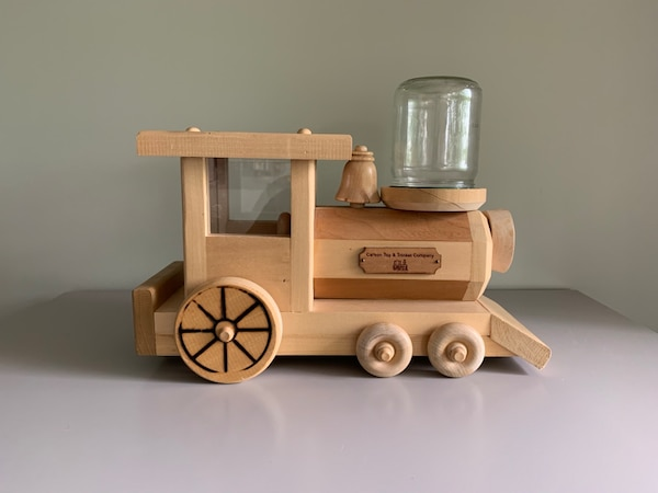 Carson Toy Trinket Company Wooden Toy Train Coin Bank And Bubble Gum Ball Dispenser