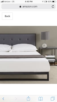 white and black wooden bed frame Los Angeles, 90045