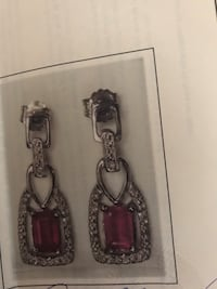 Sterling silver ruby and diamond earrings Mississauga, L5A