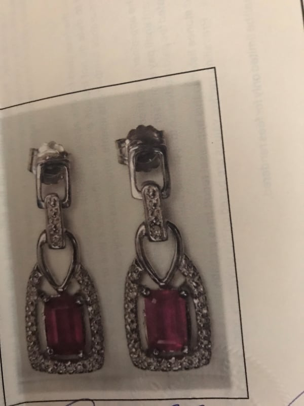 Sterling silver ruby and diamond earrings 0