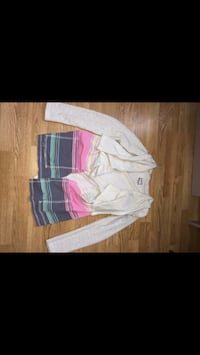 white pink and purple full zip jacket