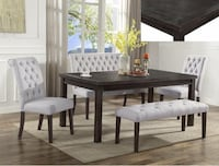 rectangular black wooden table with four chairs dining set Richmond, 77407