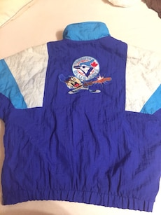 purple, white, and blue Toronto Blue Jays jacket