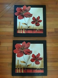 Red petaled flower painting with dark wooden frame
