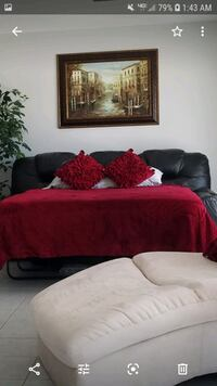 Leather Sofa Bed, 2 mattresses, mattress cover and sheet set