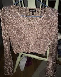 Pink/Rose Gold Long Bell Sleeve Crop Top Victoria, V8T 4H1