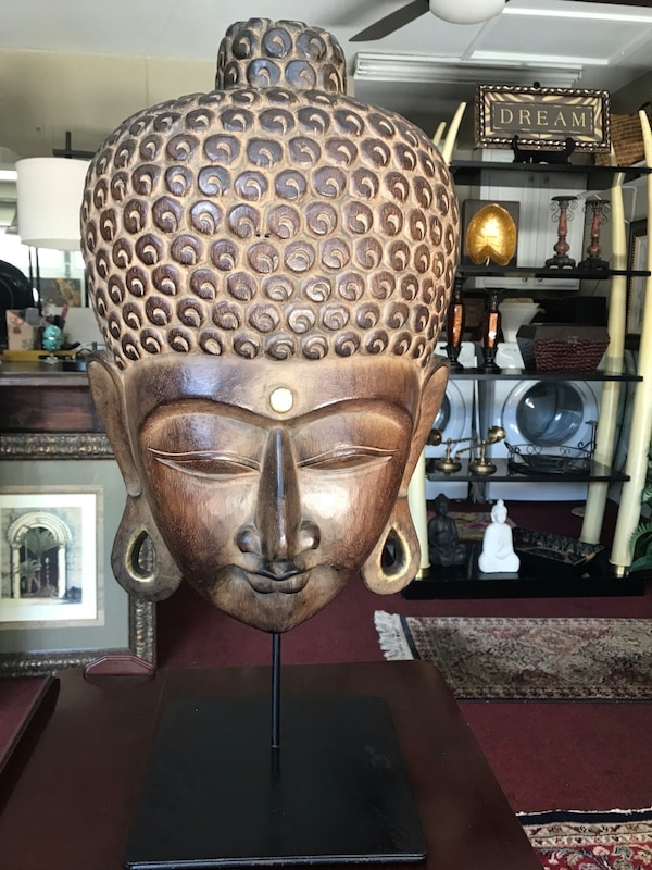 "Awesome World market Indonesian all wood face Home decor 27"" h x 14"" w New"