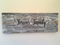 """Handcrafted""""Forever Family"""" Wood Sign Bloomington, 47408"""