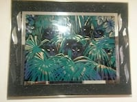 green leaf plant painting with silver frame