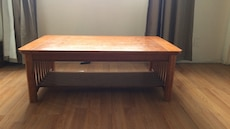 brown wooden rectangular 2 layered coffee table