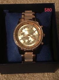 round silver Michael Kors chronograph watch with link bracelet