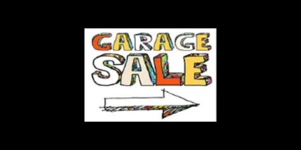 white and red Garage Sale signage
