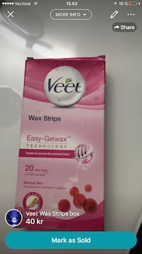 Veet Wax Strips Easy-Gelwax box skärmdump Malmø, 214 54