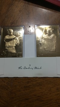 The Danbury Mint Gehrig and Ruth MBL trading cards