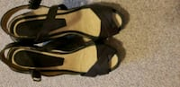 pair of black open-toe ankle strap heels Richmond Hill, L4S